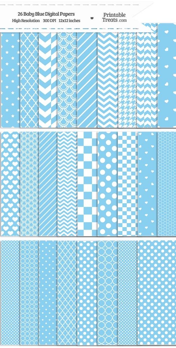 26 Baby Blue Digital Paper Set Download