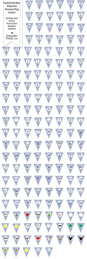 165 Pastel Dark Blue Polka Dot Pennant Flag Letters Password
