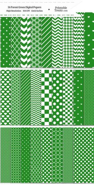 26 Forest Green Digital Paper Set Password