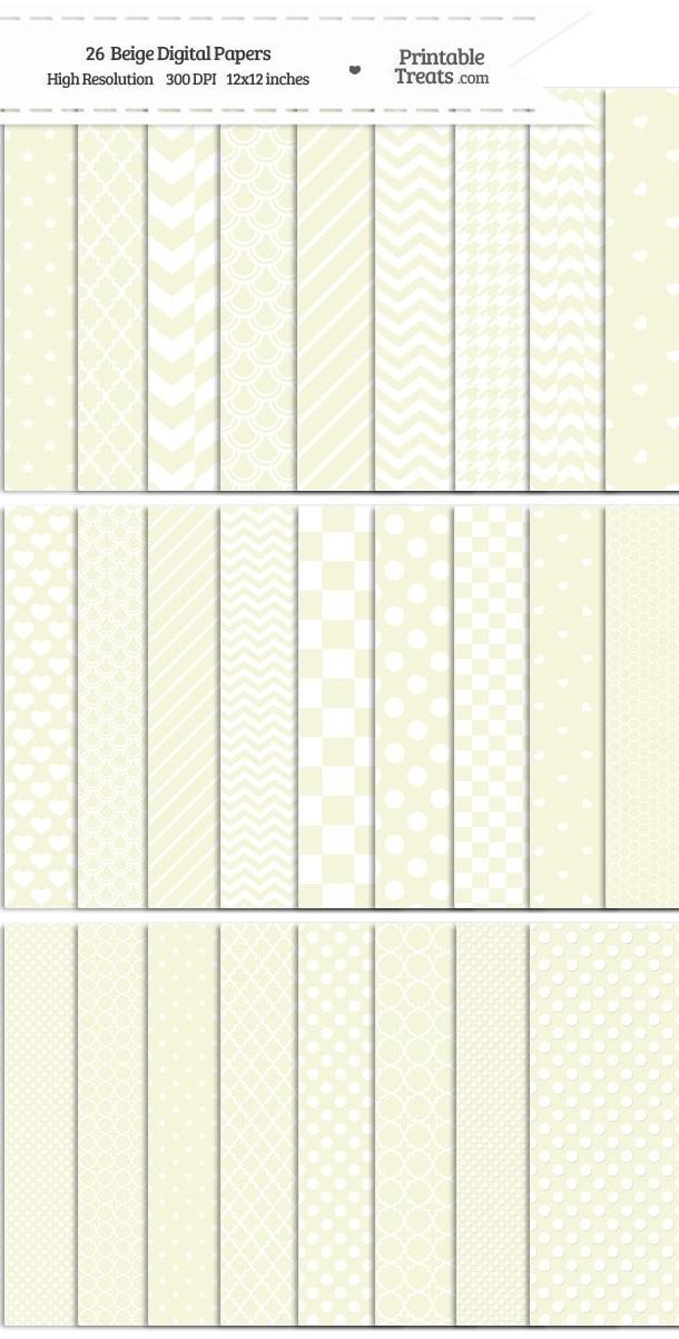 26 Beige Digital Paper Set Password