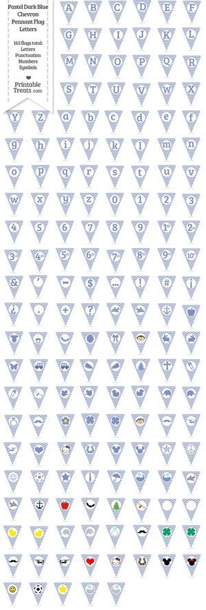 165 Pastel Dark Blue Chevron Pennant Flag Letters Password