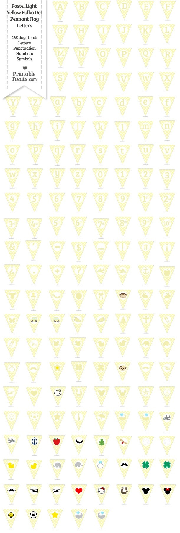 165 Pastel Light Yellow Polka Dot Pennant Flag Letters Password
