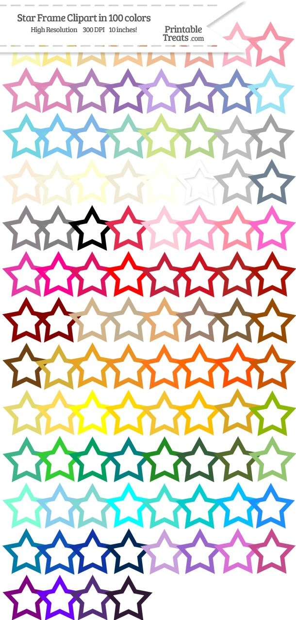 100 Colors Star Frame Clipart Password