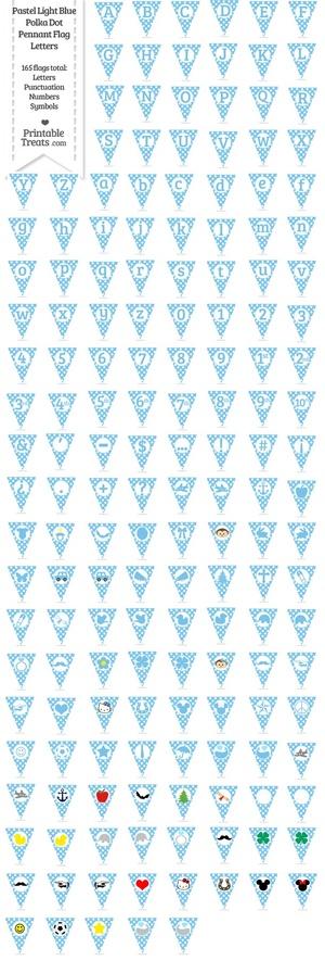 165 Pastel Light Blue Polka Dot Pennant Flag Letters Password