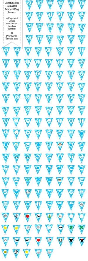 165 Deep Sky Blue Polka Dot Pennant Flag Letters Password