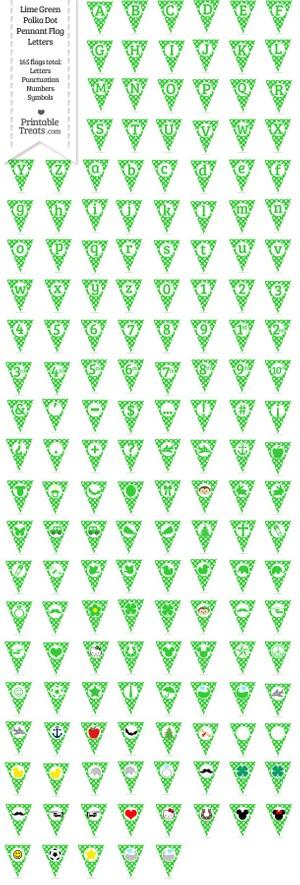 165 Lime Green Polka Dot Pennant Flag Letters Password