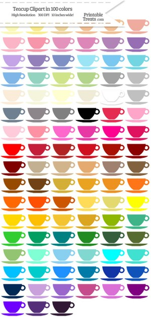 100 Colors Teacup Clipart Password
