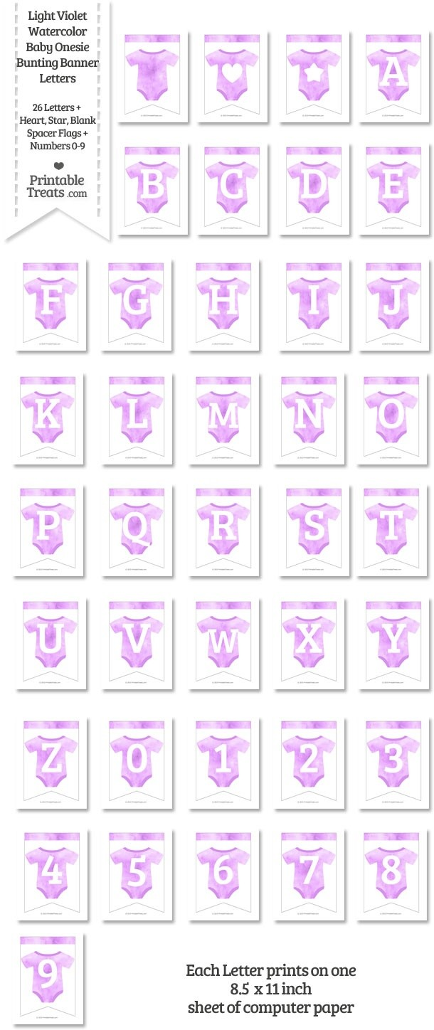 Light Violet Watercolor Baby Onesie Bunting Banner Letters Download