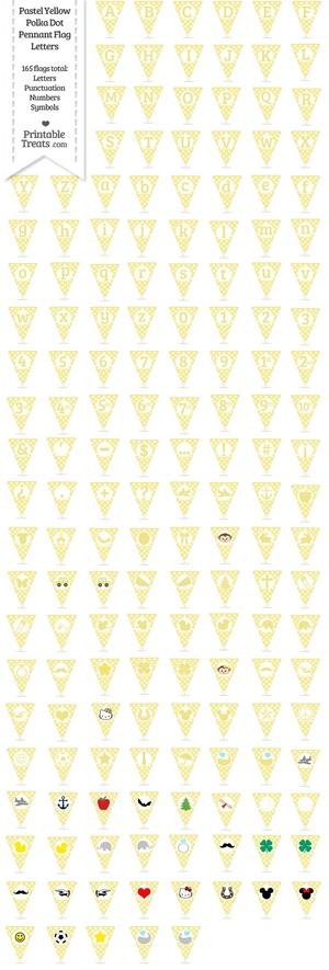 165 Pastel Yellow Polka Dot Pennant Flag Letters Password