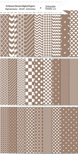 26 Beaver Brown Digital Paper Set Password