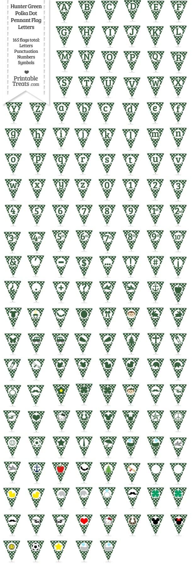 165 Hunter Green Polka Dot Pennant Flag Letters Password