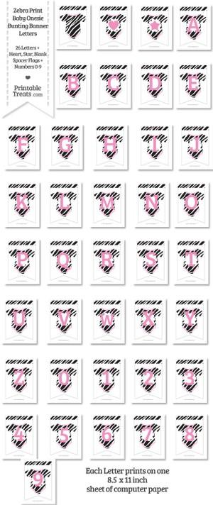 Zebra Print Baby Onesie Shaped Banner Letters Download