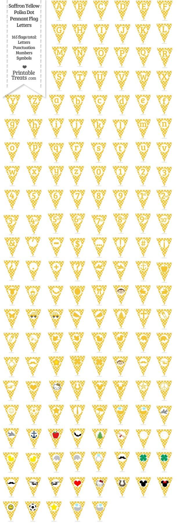 165 Saffron Yellow Polka Dot Pennant Flag Letters Password