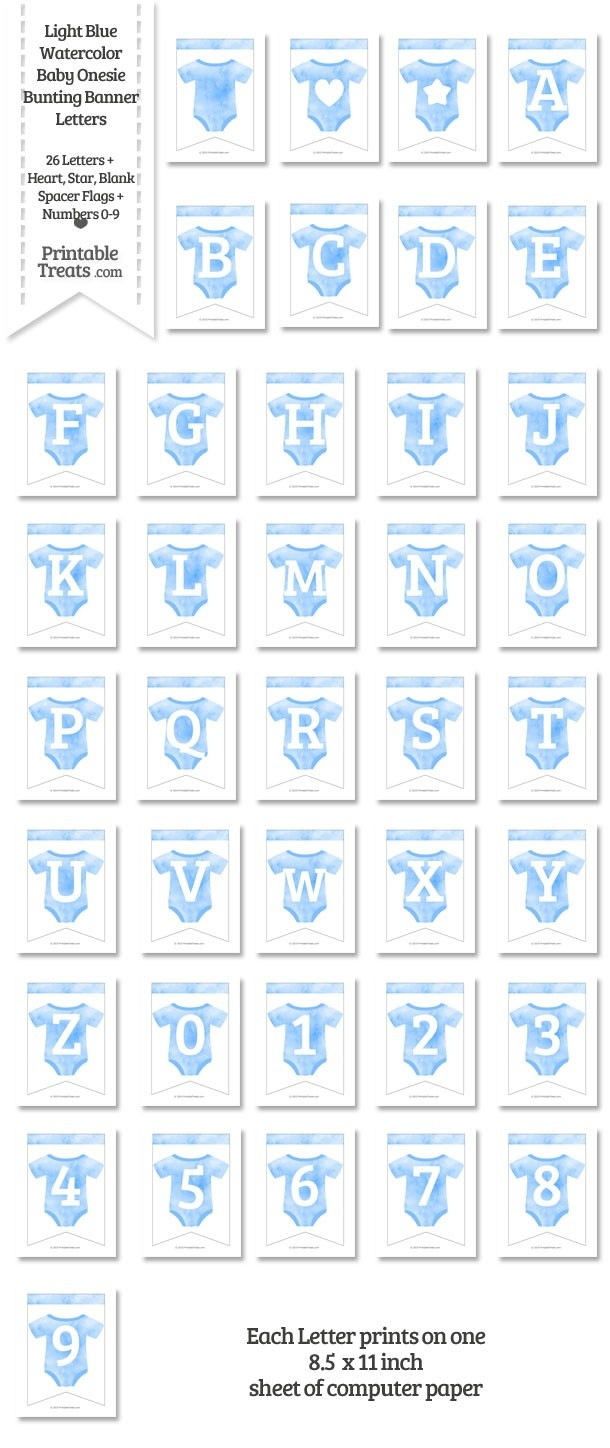 Light Blue Watercolor Baby Onesie Bunting Banner Letters Download