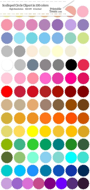 100 Colors Scalloped Circle Clipart Password