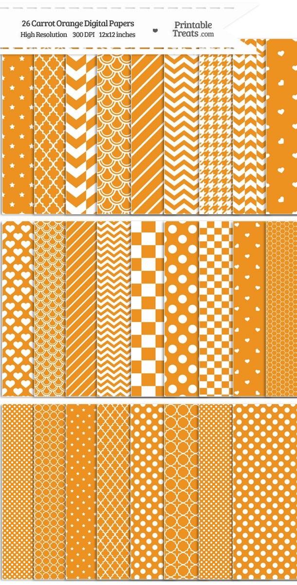 26 Carrot Orange Digital Paper Set Password