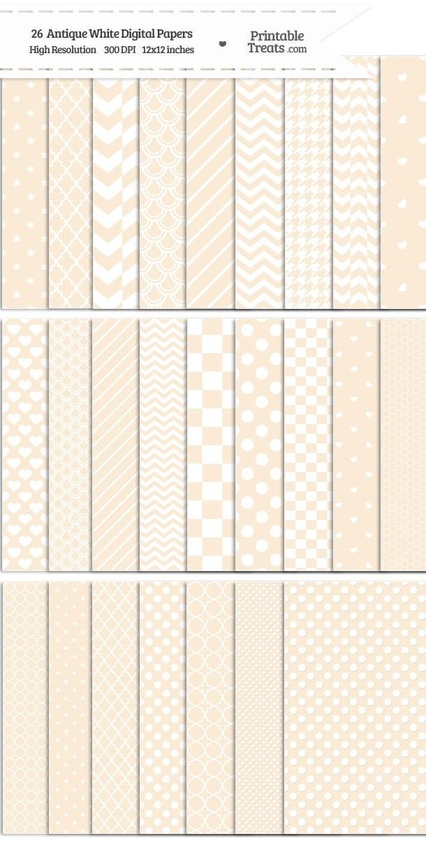 26 Antique White Digital Paper Set Password