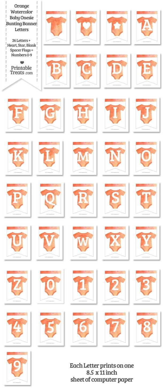 Orange Watercolor Baby Onesie Bunting Banner Letters Download