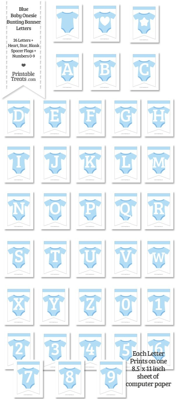 Blue Baby Onesie Bunting Banner Letters Download