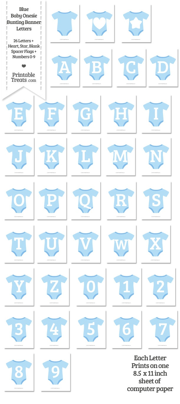 graphic relating to Printable Treats titled Blue Youngster Onesie Formed Banner Letters