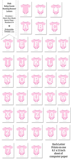 Pink Baby Onesie Shaped Banner Letters Download