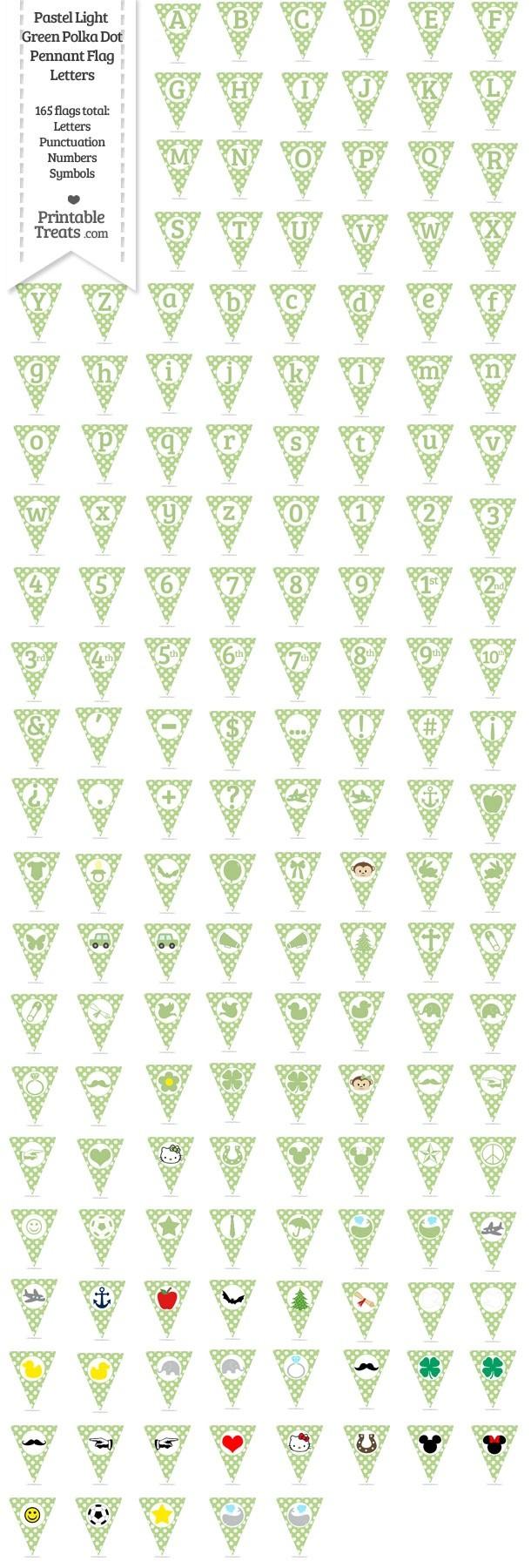 165 Pastel Light Green Polka Dot Pennant Flag Letters Password