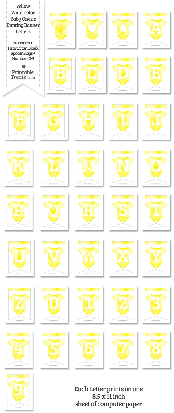 picture about Printable Treats Com called Yellow Watercolor Youngster Onesie Bunting Banner Letters Down load