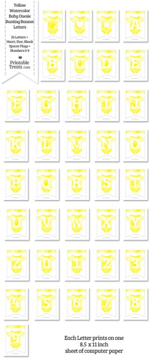 Yellow Watercolor Baby Onesie Bunting Banner Letters Download
