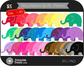 photograph about Printable Treats.com named Kid Elephant Electronic Clip Artwork inside of Substitute Hues - Top quality