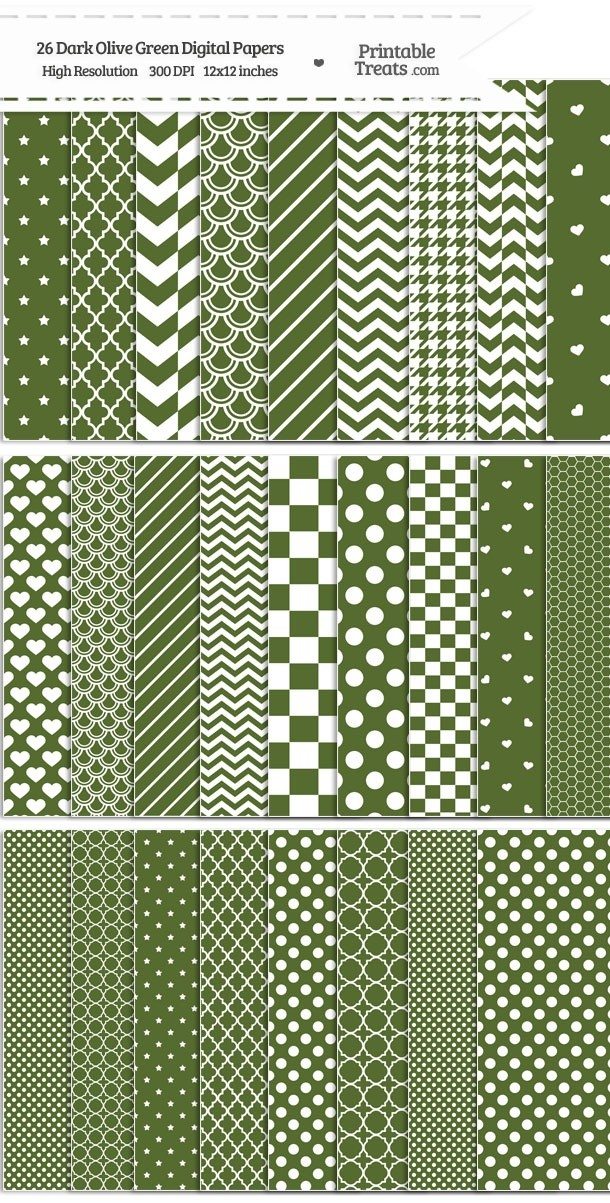 26 Dark Olive Green Digital Paper Set Password