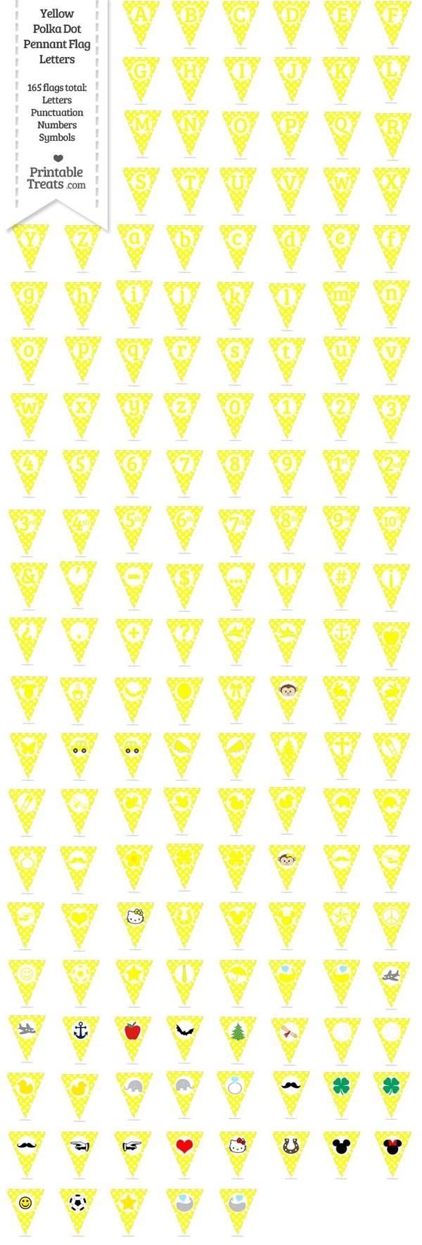 165 Yellow Polka Dot Pennant Flag Letters Password