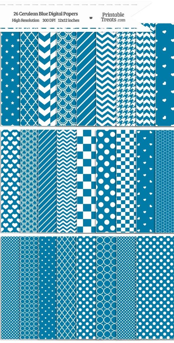 26 Cerulean Blue Digital Paper Set Password