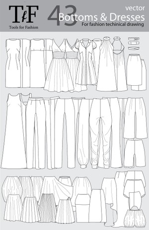 Bottoms & Dresses vector objets