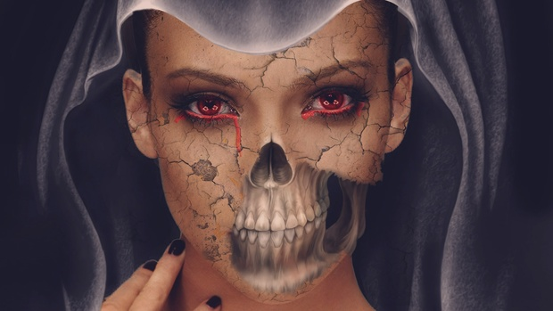 Halloween Skull Face in Photoshop