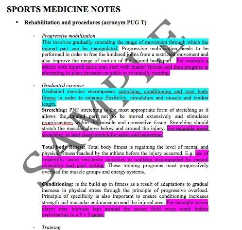 HSC PDH- SPORTS MEDICINE SUMMARIES
