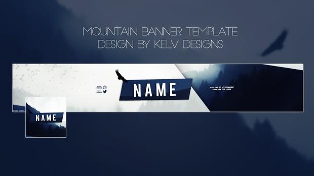 Banner Template | Mountain Youtube Banner Template Kelv Designs