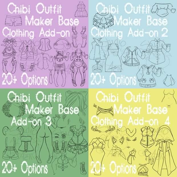 Waitress Chibi Maker Clothing Packs 1-4 Bundle!