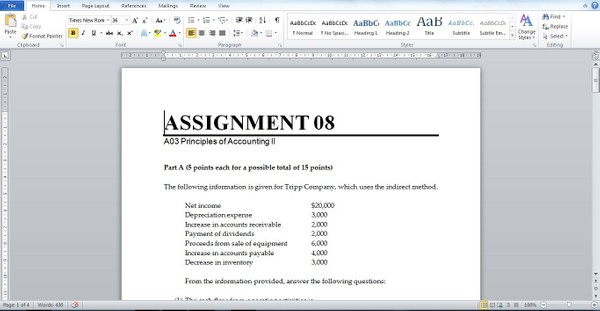 ASSIGNMENT 08 A03 Principles of Accounting II