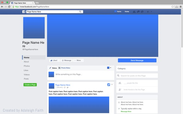 Facebook Page Mockup (2016 Layout)