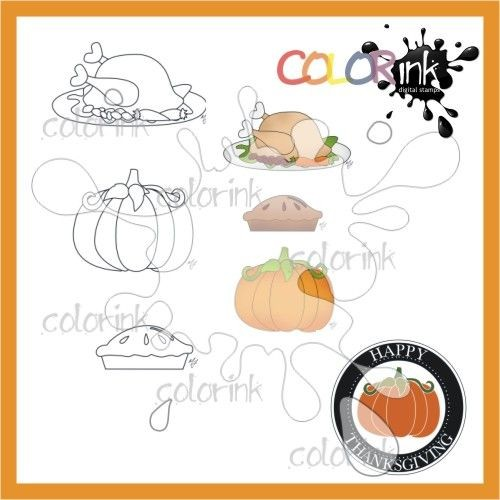 Thanksgiving mini stamps and sentiment Digi stamp