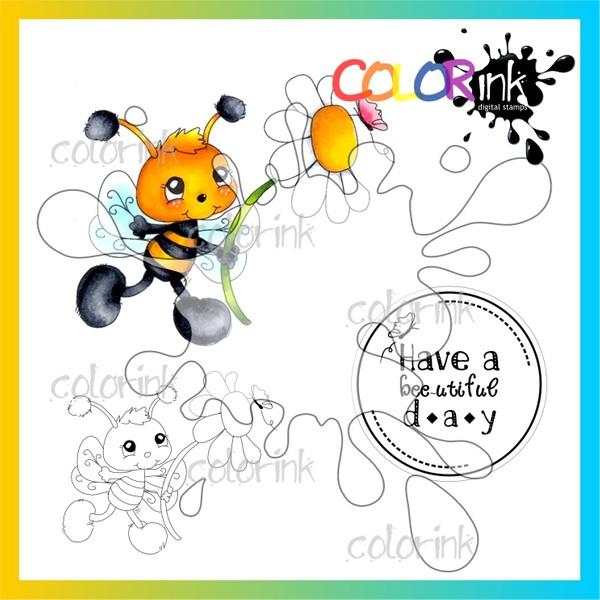 Bee flower and  sentiment Digi stamp