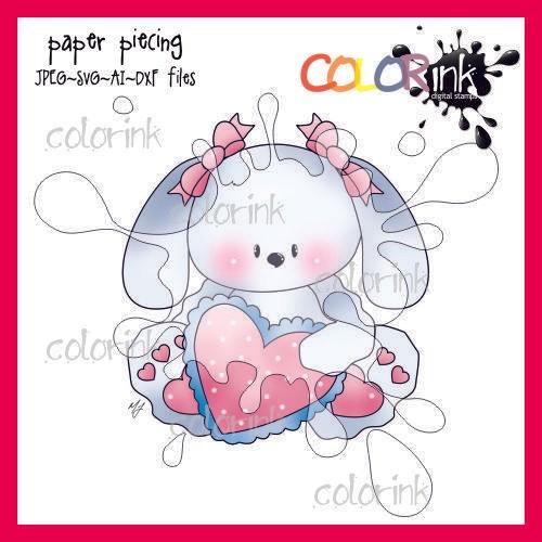 Sitting girl heart bunny paper piecing