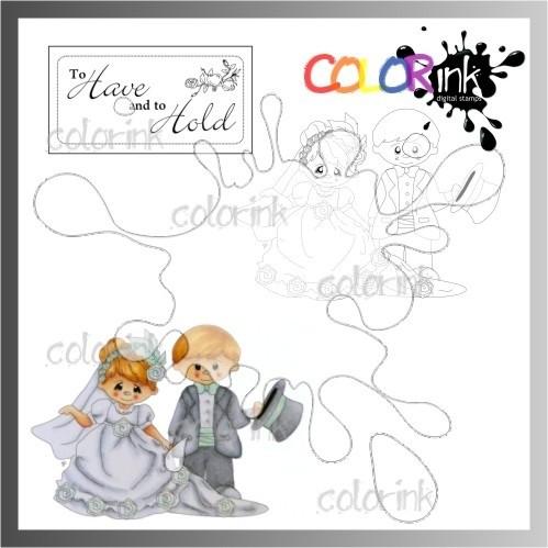 Bride & groom and sentiment Digi stamp