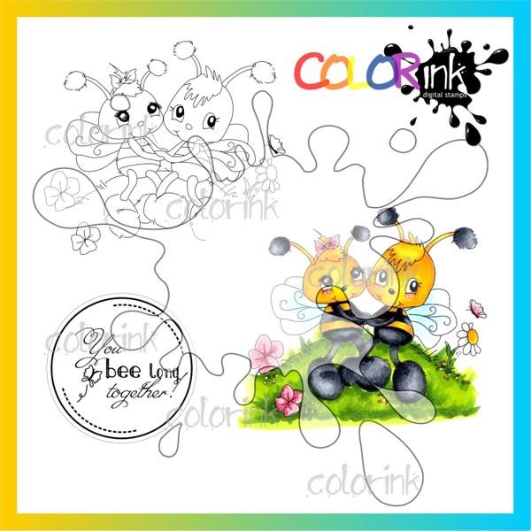 Bee together and  sentiment Digi stamp