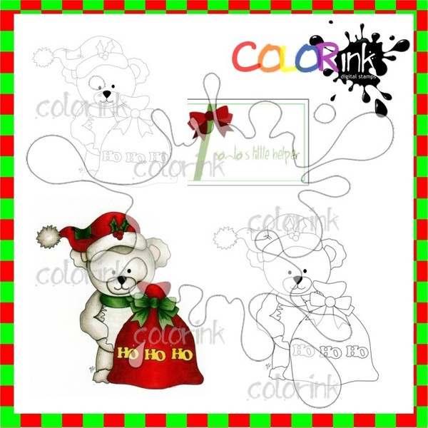 Bastian the Bear HOHOHO and sentiment Digi stamp