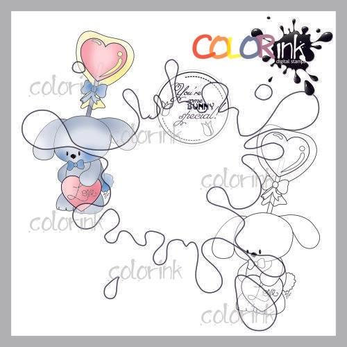 Lollipop boy bunny and sentiment Digi stamp