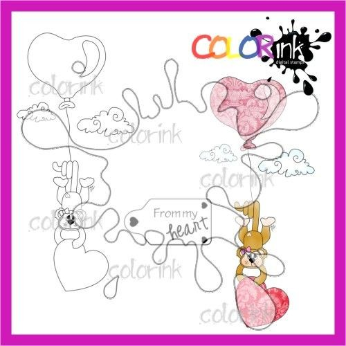 From my heart monkey and  sentiment Digi stamp
