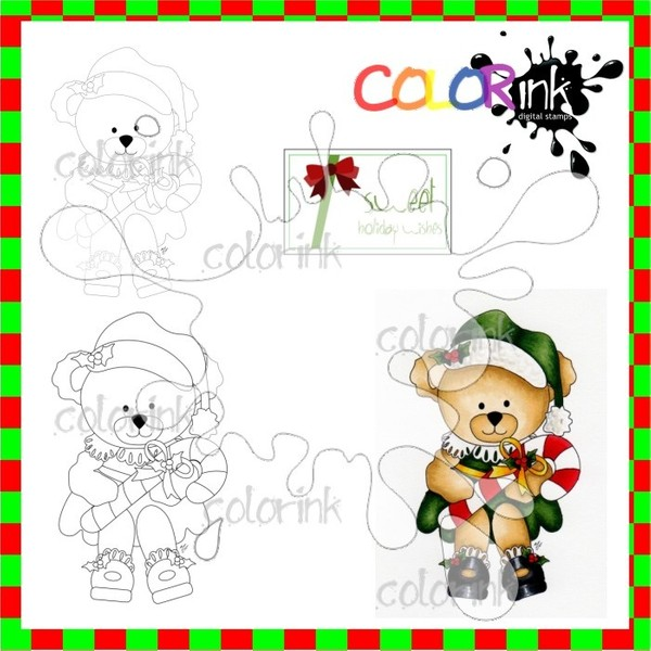 Beatrice the Bear with Lollipop and sentiment Digi stamp