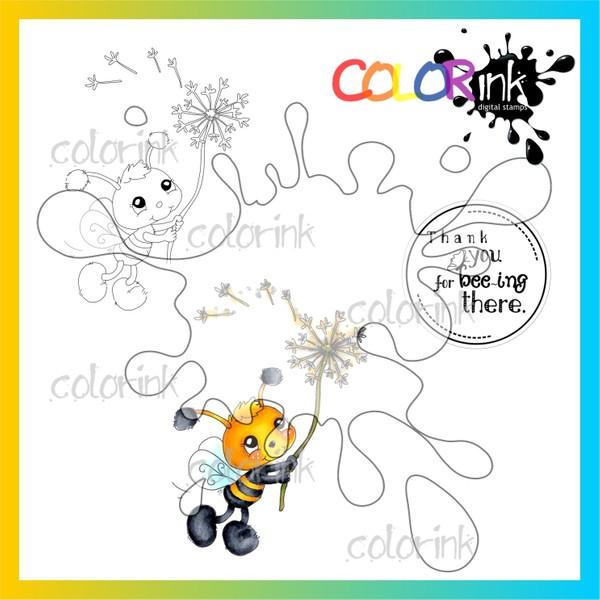 Bee dandelion and  sentiment Digi stamp