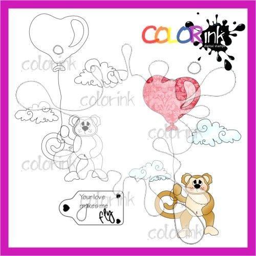 Fly monkey and sentiment Digi stamp